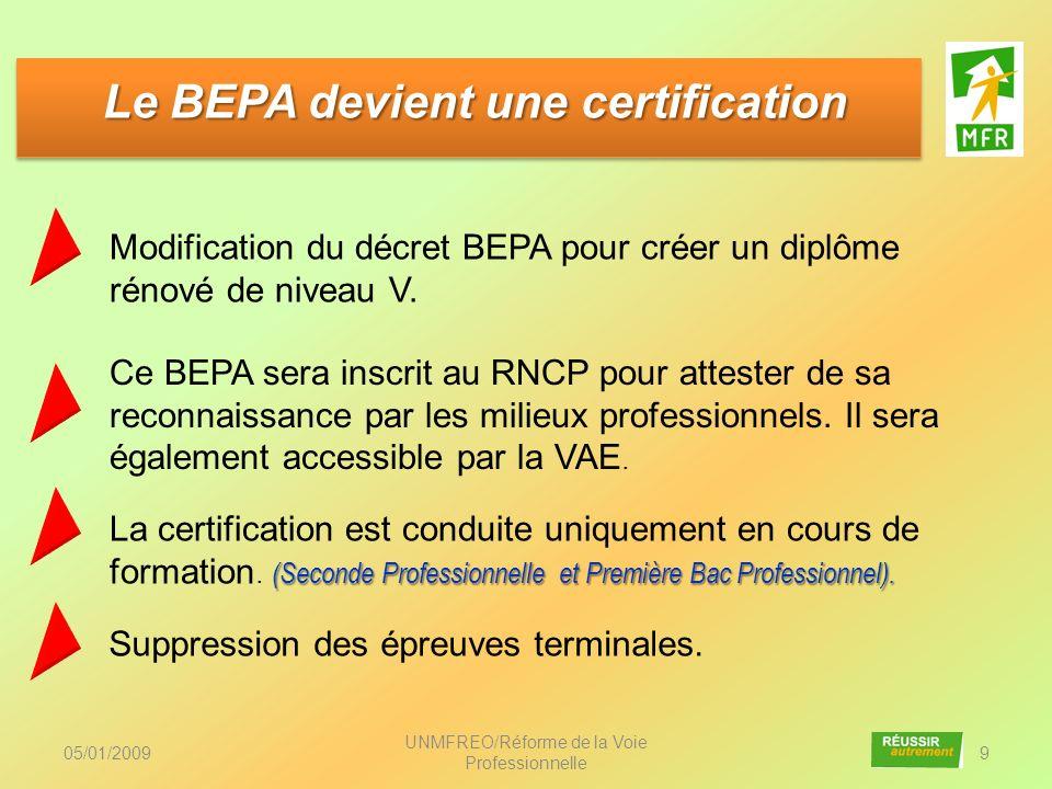 Le BEPA devient une certification
