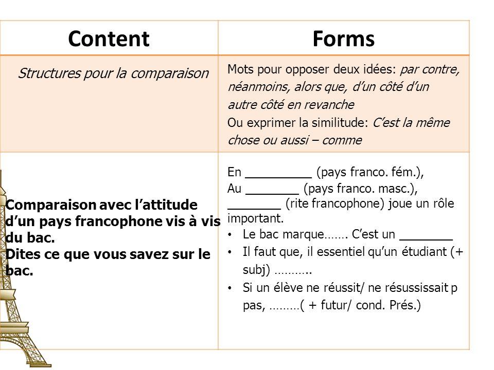 Content Forms Structures pour la comparaison