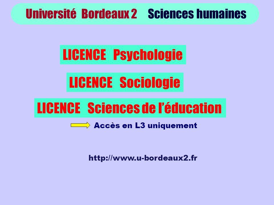 Université Bordeaux 2 Sciences humaines