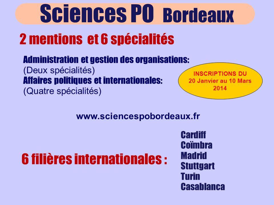 Sciences PO Bordeaux 2 mentions et 6 spécialités