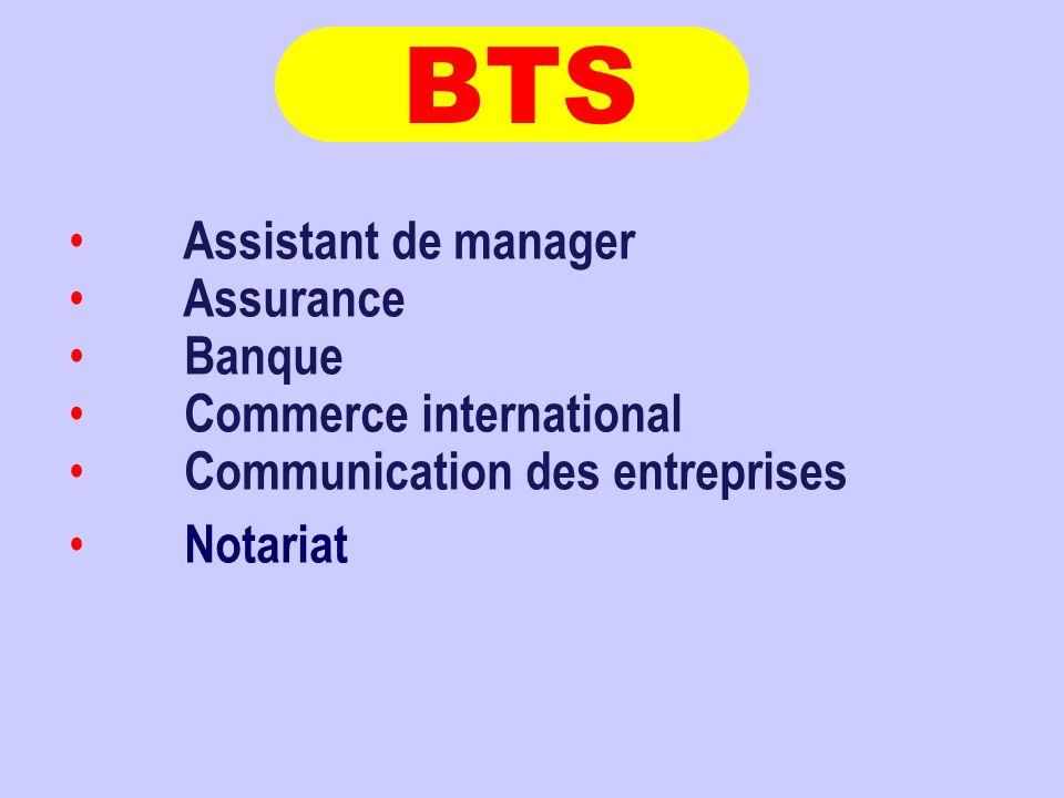 BTS Assistant de manager Assurance Banque Commerce international
