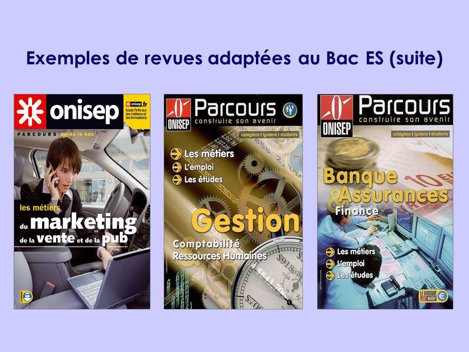 Exemples de revues adaptées au Bac ES (suite)
