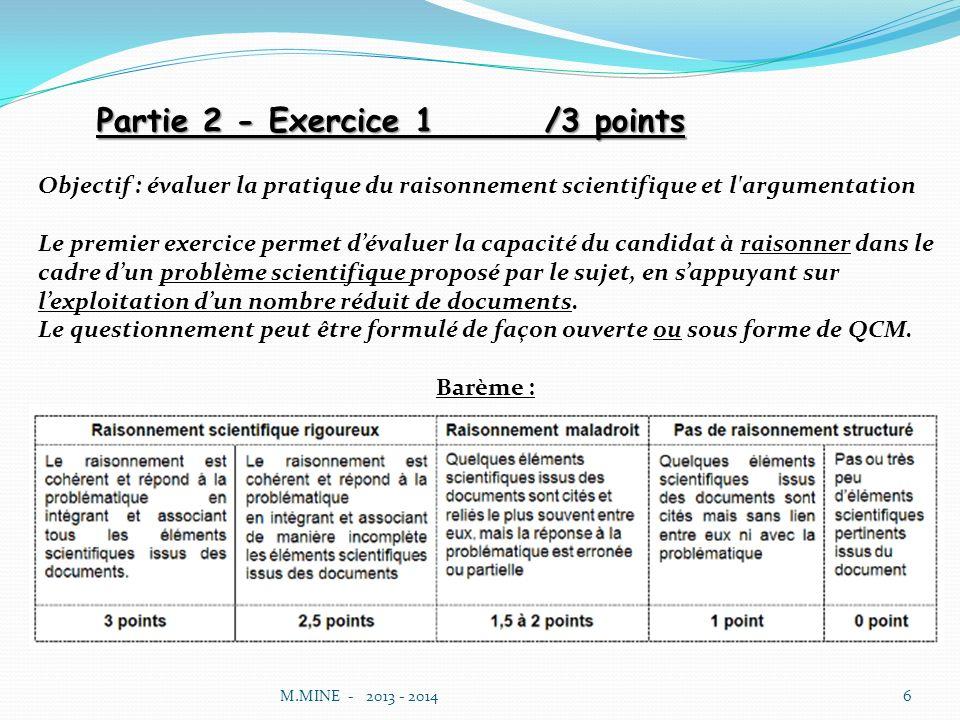 Partie 2 - Exercice 1 /3 points