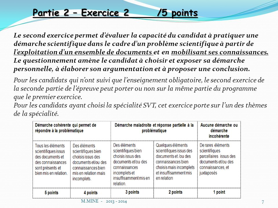 Partie 2 – Exercice 2 /5 points