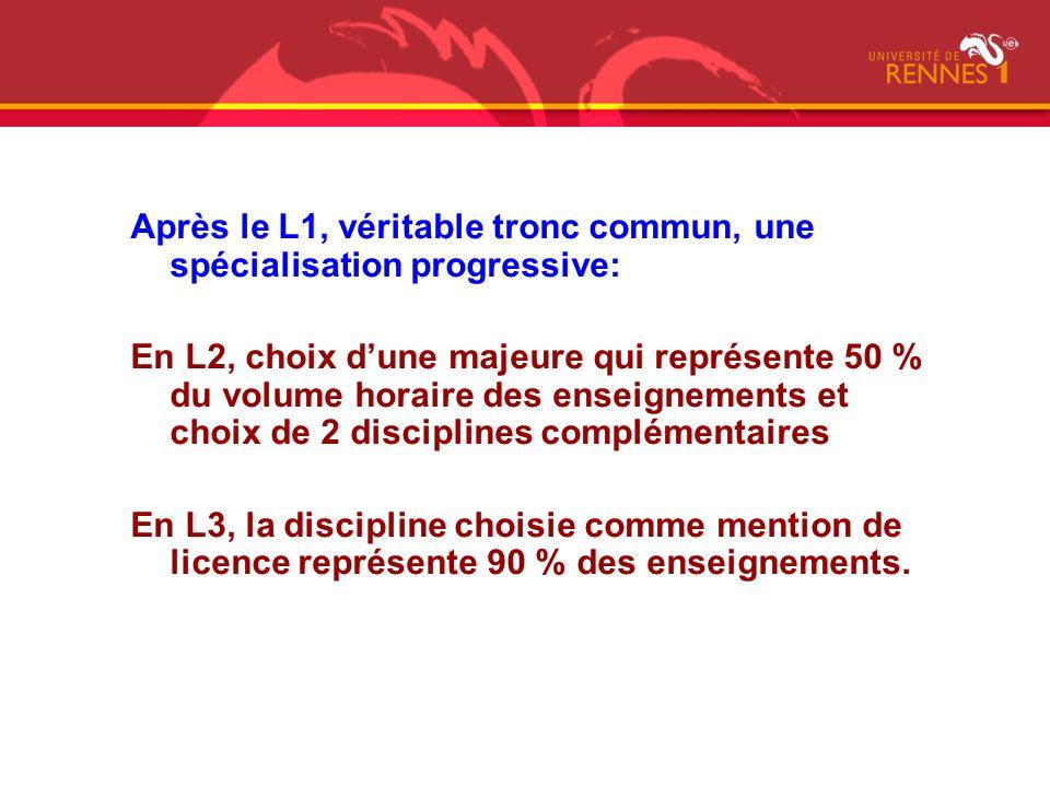 Après le L1, véritable tronc commun, une spécialisation progressive:
