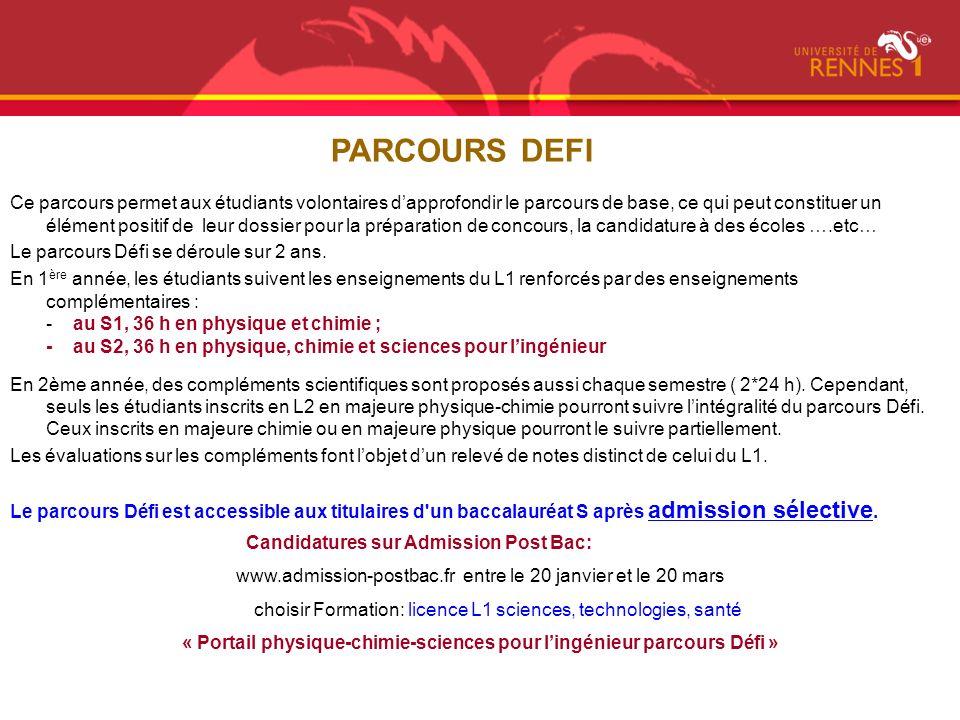 « Portail physique-chimie-sciences pour l'ingénieur parcours Défi »