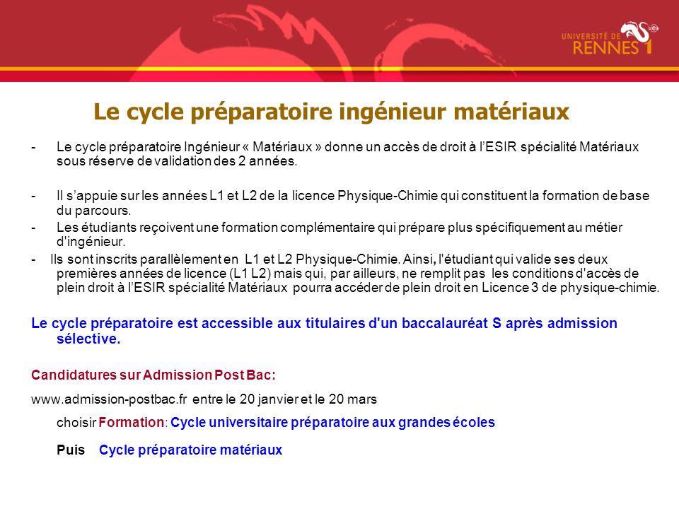 Le cycle préparatoire ingénieur matériaux