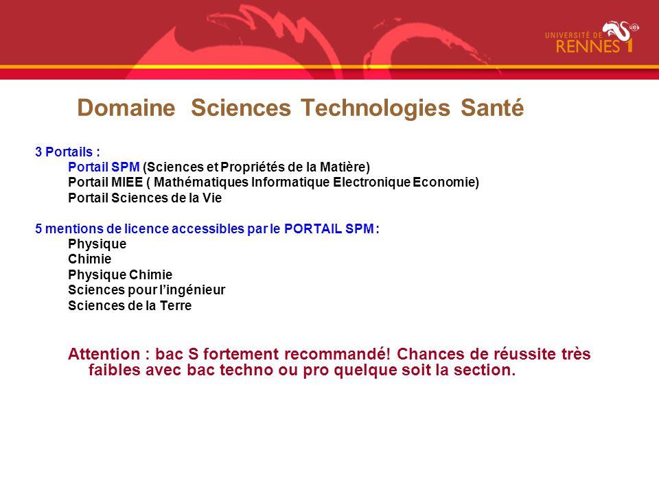 Domaine Sciences Technologies Santé