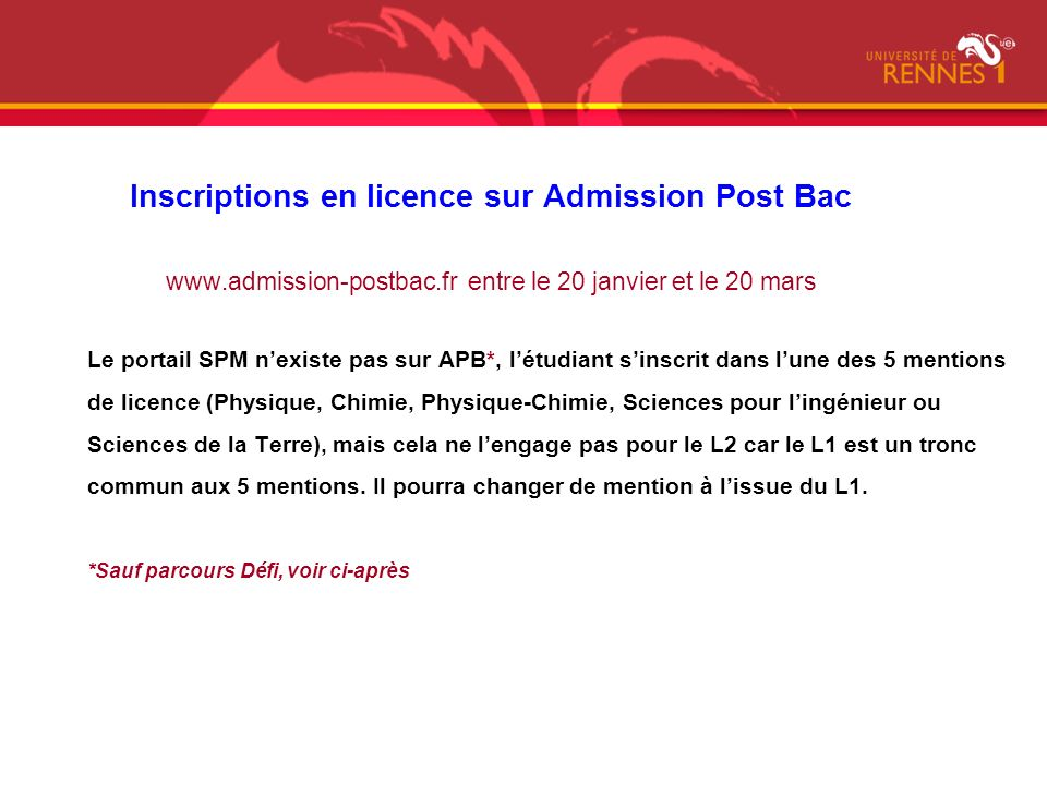 Inscriptions en licence sur Admission Post Bac