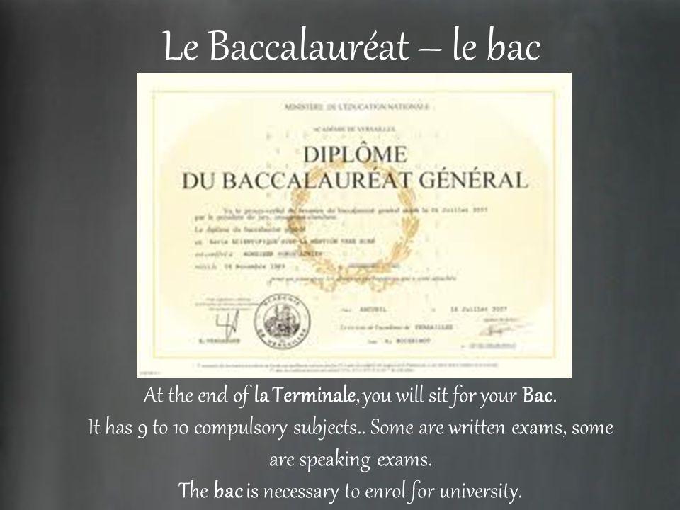 Le Baccalauréat – le bac