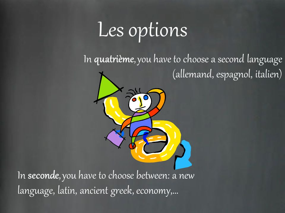 Les options In quatrième, you have to choose a second language (allemand, espagnol, italien)