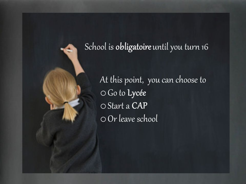 School is obligatoire until you turn 16