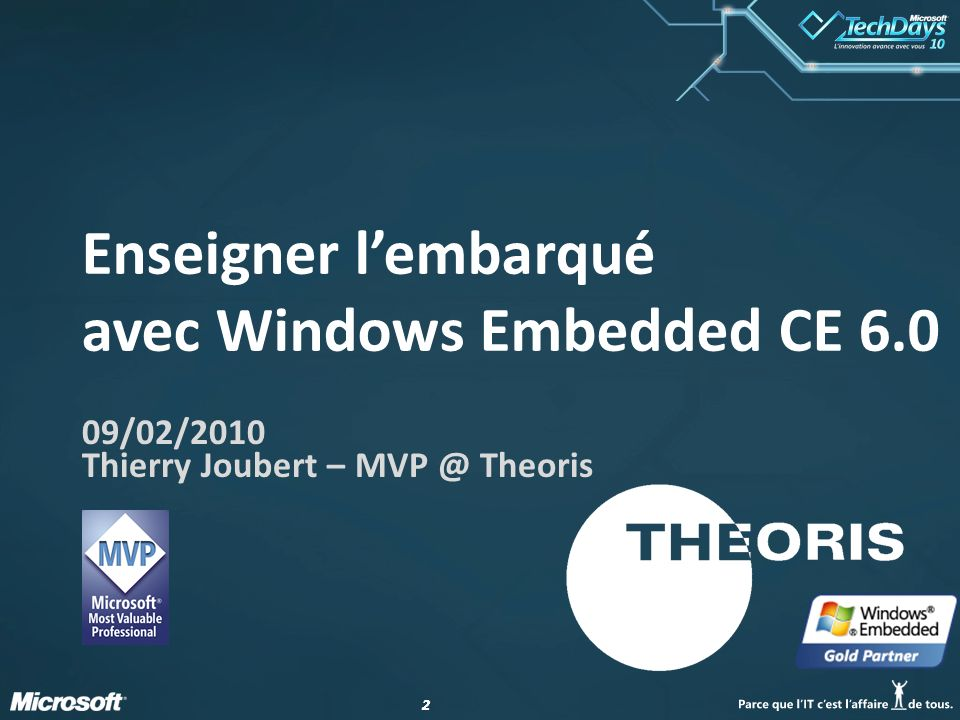 Enseigner l'embarqué avec Windows Embedded CE 6.0