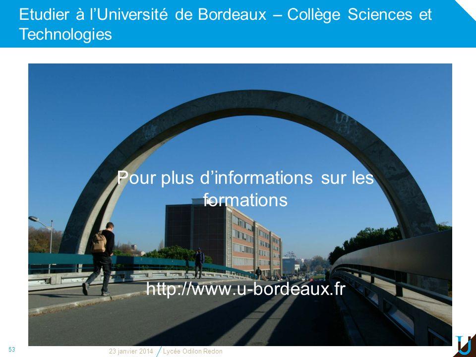 Etudier à l'Université de Bordeaux – Collège Sciences et Technologies