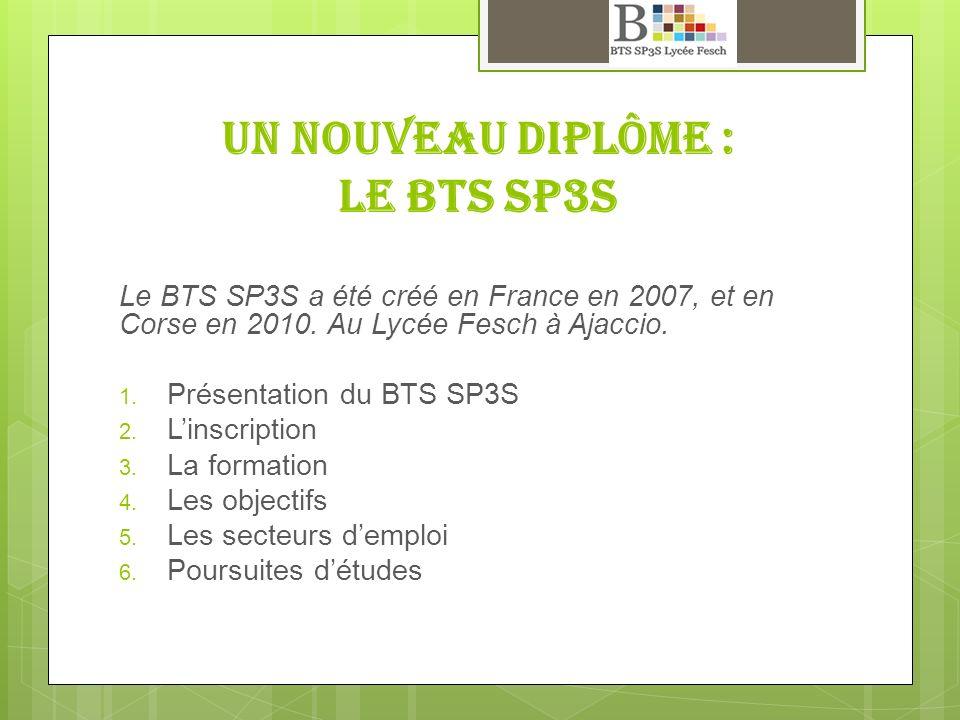 Un nouveau diplôme : Le BTS SP3S
