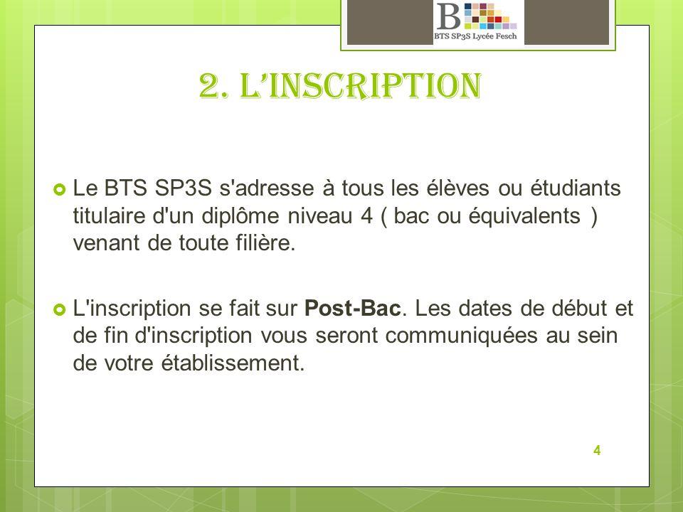 2. L'inscription Le BTS SP3S s adresse à tous les élèves ou étudiants titulaire d un diplôme niveau 4 ( bac ou équivalents ) venant de toute filière.