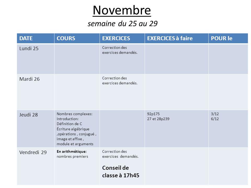 Novembre semaine du 25 au 29 DATE COURS EXERCICES EXERCICES à faire