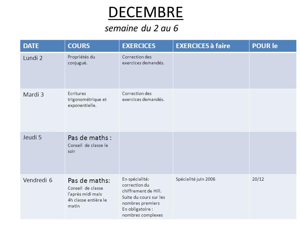 DECEMBRE semaine du 2 au 6 DATE COURS EXERCICES EXERCICES à faire