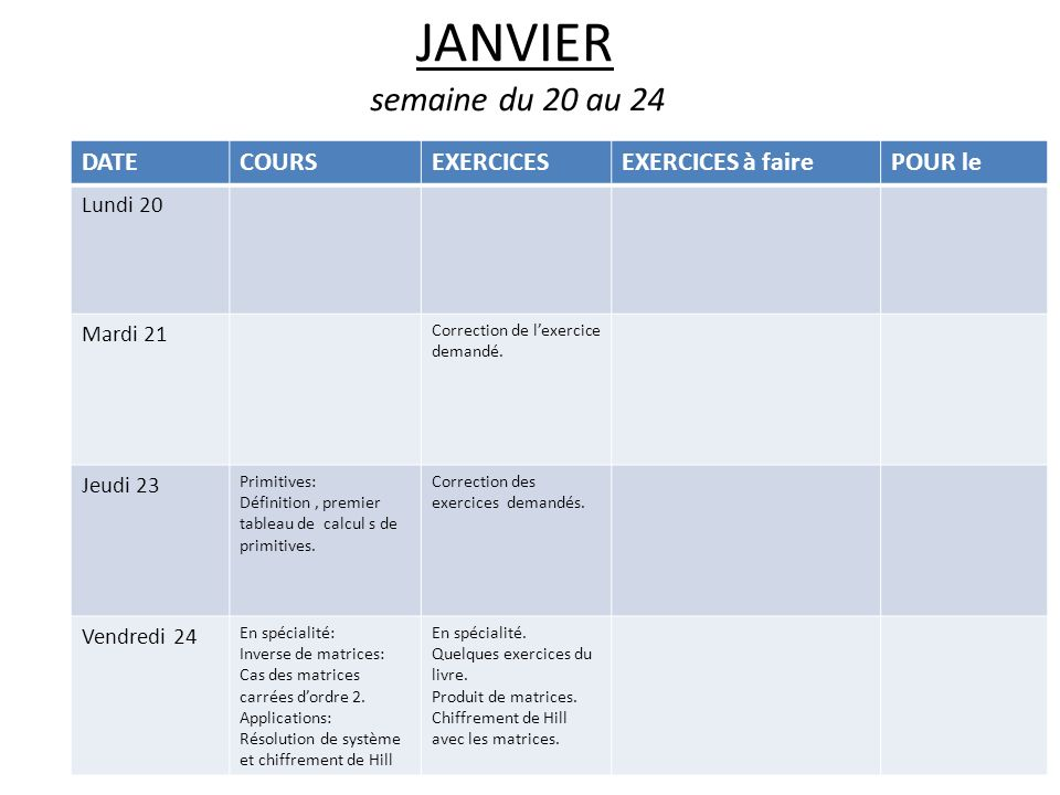 JANVIER semaine du 20 au 24 DATE COURS EXERCICES EXERCICES à faire
