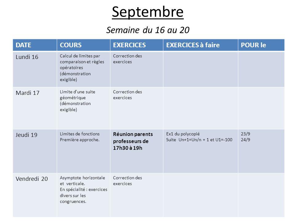 Septembre Semaine du 16 au 20 DATE COURS EXERCICES EXERCICES à faire