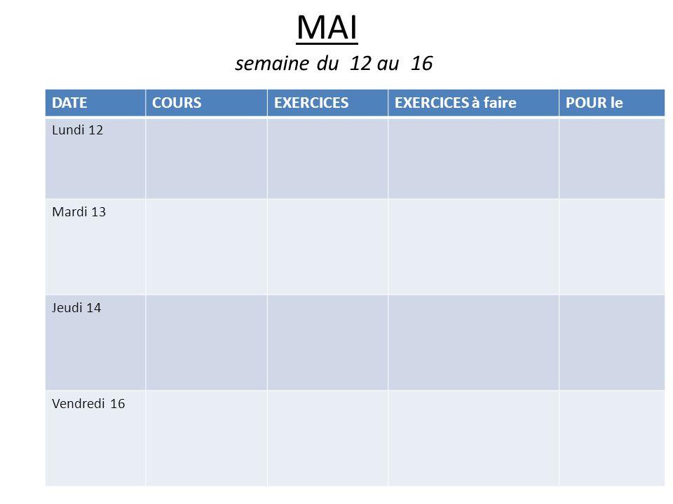 MAI semaine du 12 au 16 DATE COURS EXERCICES EXERCICES à faire POUR le