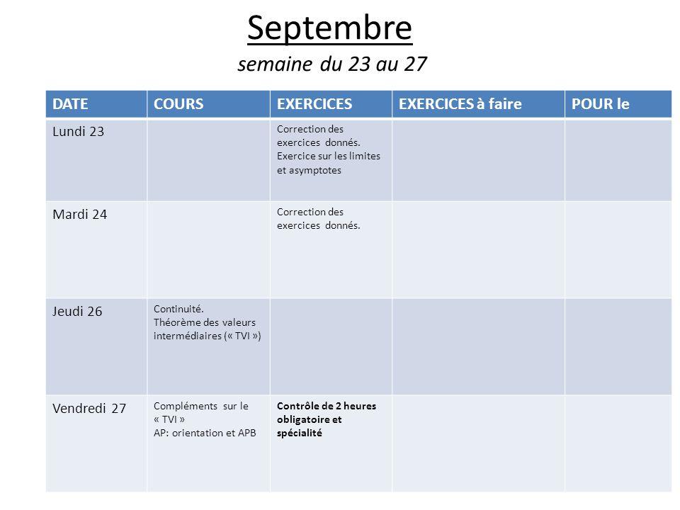 Septembre semaine du 23 au 27 DATE COURS EXERCICES EXERCICES à faire