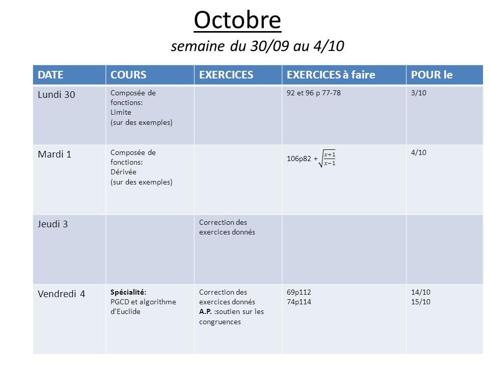 Octobre semaine du 30/09 au 4/10 DATE COURS EXERCICES