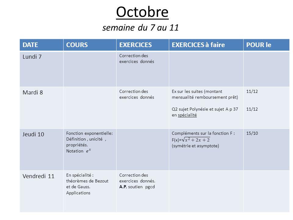 Octobre semaine du 7 au 11 DATE COURS EXERCICES EXERCICES à faire