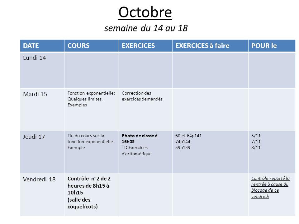 Octobre semaine du 14 au 18 DATE COURS EXERCICES EXERCICES à faire