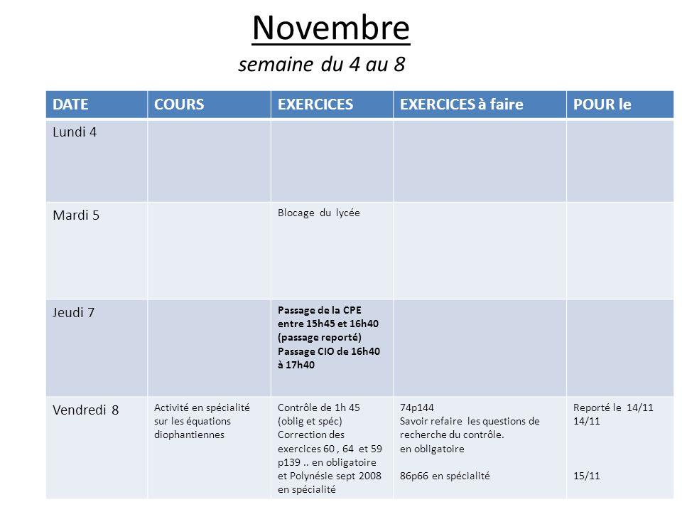 Novembre semaine du 4 au 8 DATE COURS EXERCICES EXERCICES à faire