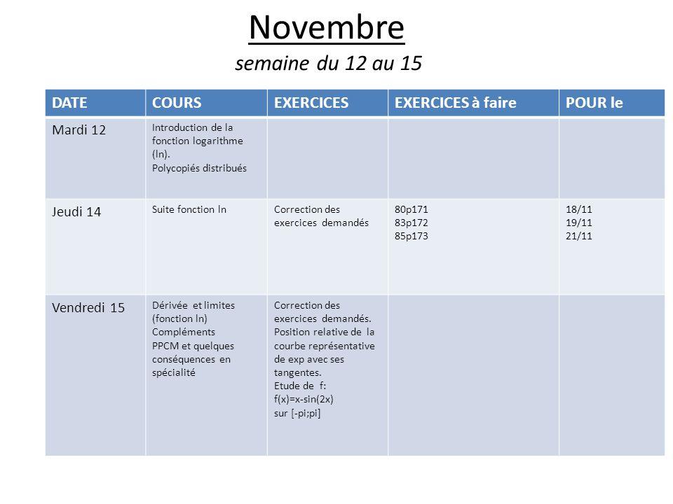 Novembre semaine du 12 au 15 DATE COURS EXERCICES EXERCICES à faire