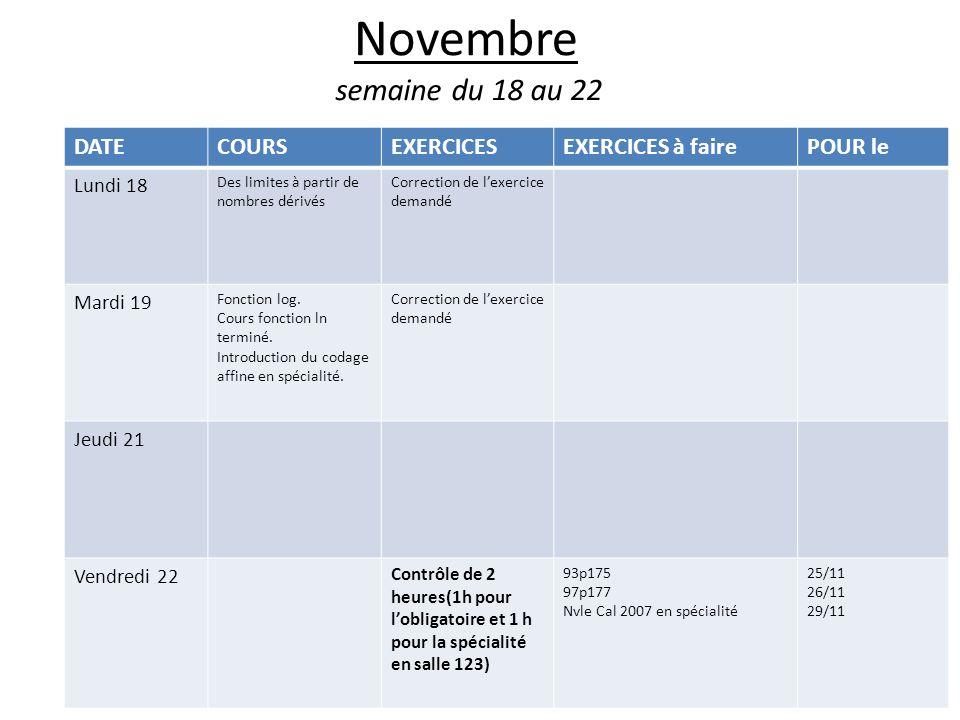 Novembre semaine du 18 au 22 DATE COURS EXERCICES EXERCICES à faire