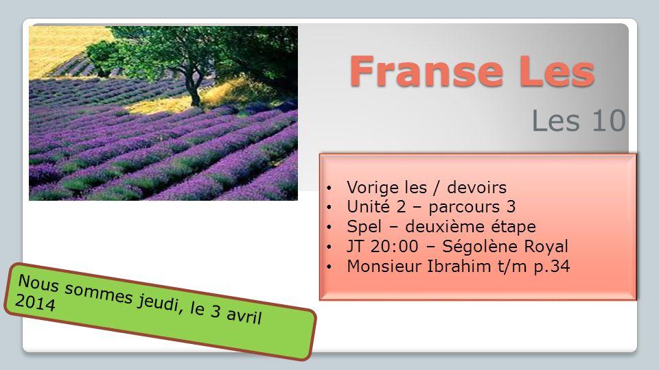 Franse Les Les 10 Vorige les / devoirs Unité 2 – parcours 3