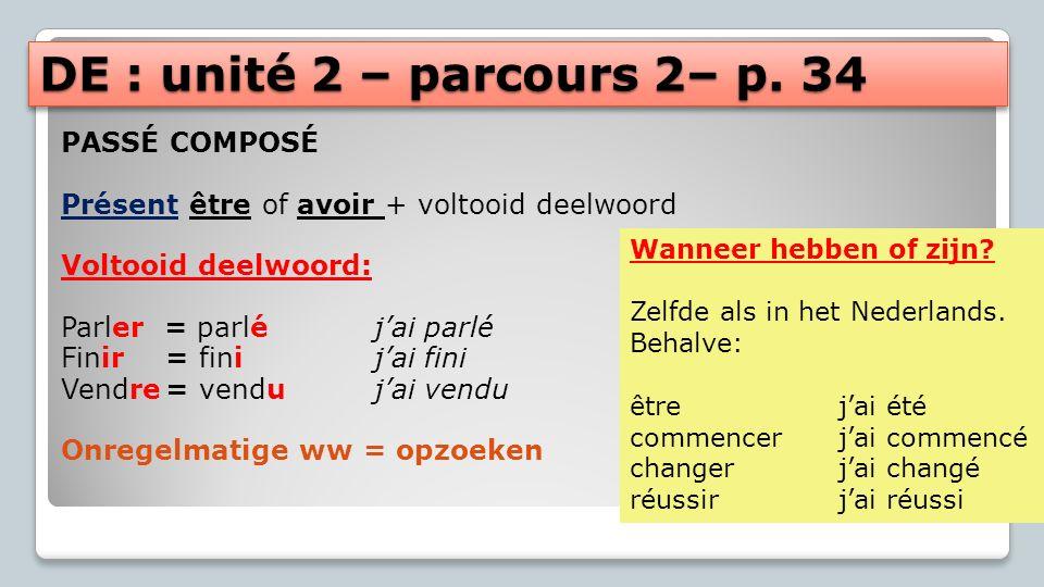 DE : unité 2 – parcours 2– p. 34 PASSÉ COMPOSÉ