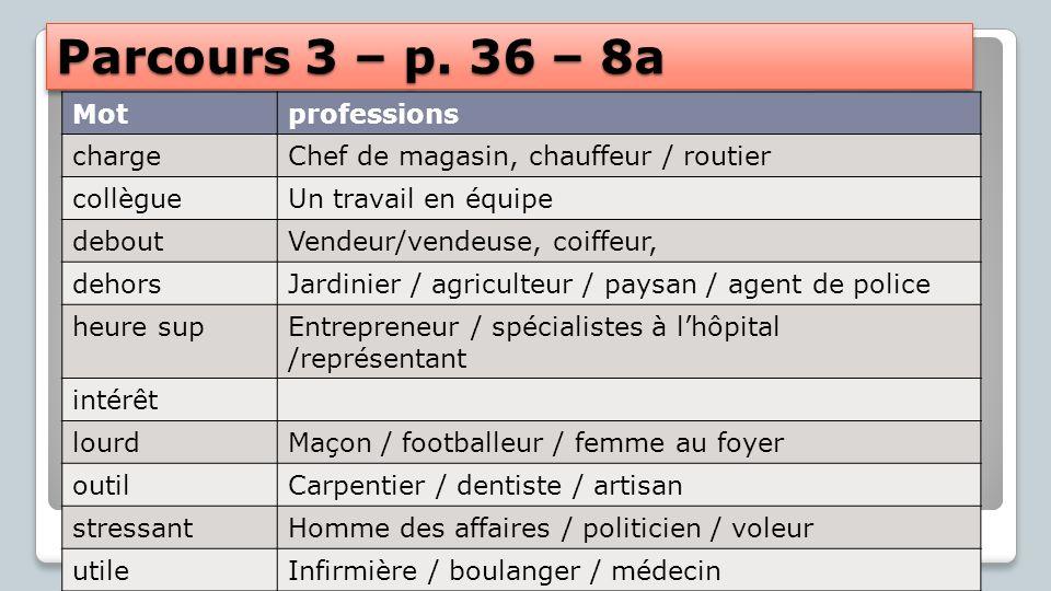 Parcours 3 – p. 36 – 8a Mot professions charge