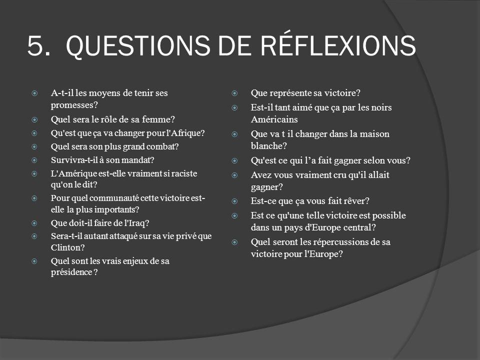 QUESTIONS DE RÉFLEXIONS