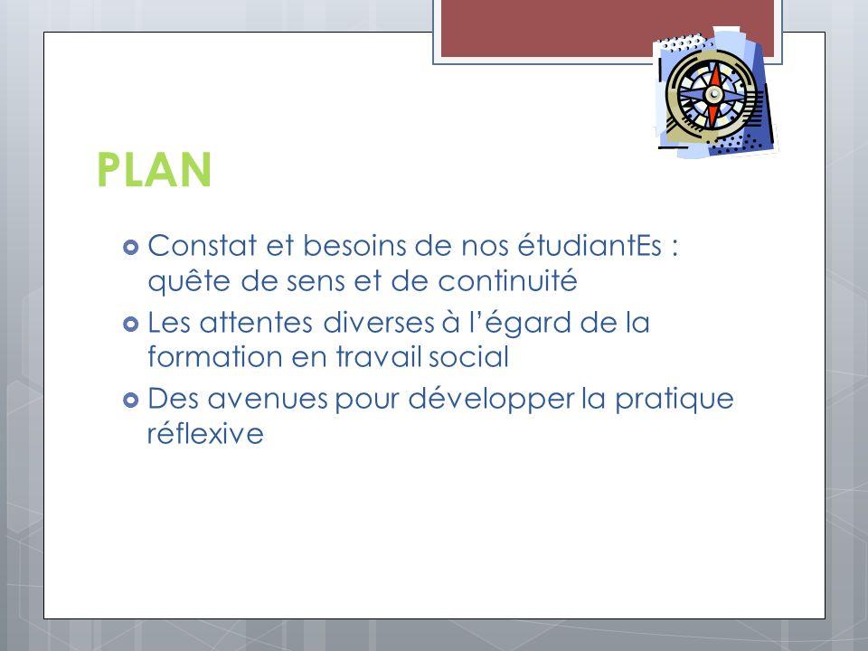 PLAN Constat et besoins de nos étudiantEs : quête de sens et de continuité. Les attentes diverses à l'égard de la formation en travail social.