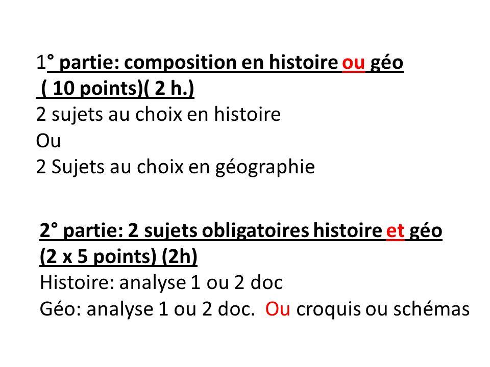1° partie: composition en histoire ou géo