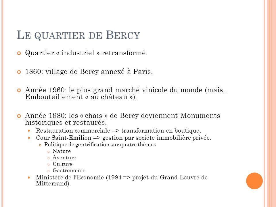 Le quartier de Bercy Quartier « industriel » retransformé.