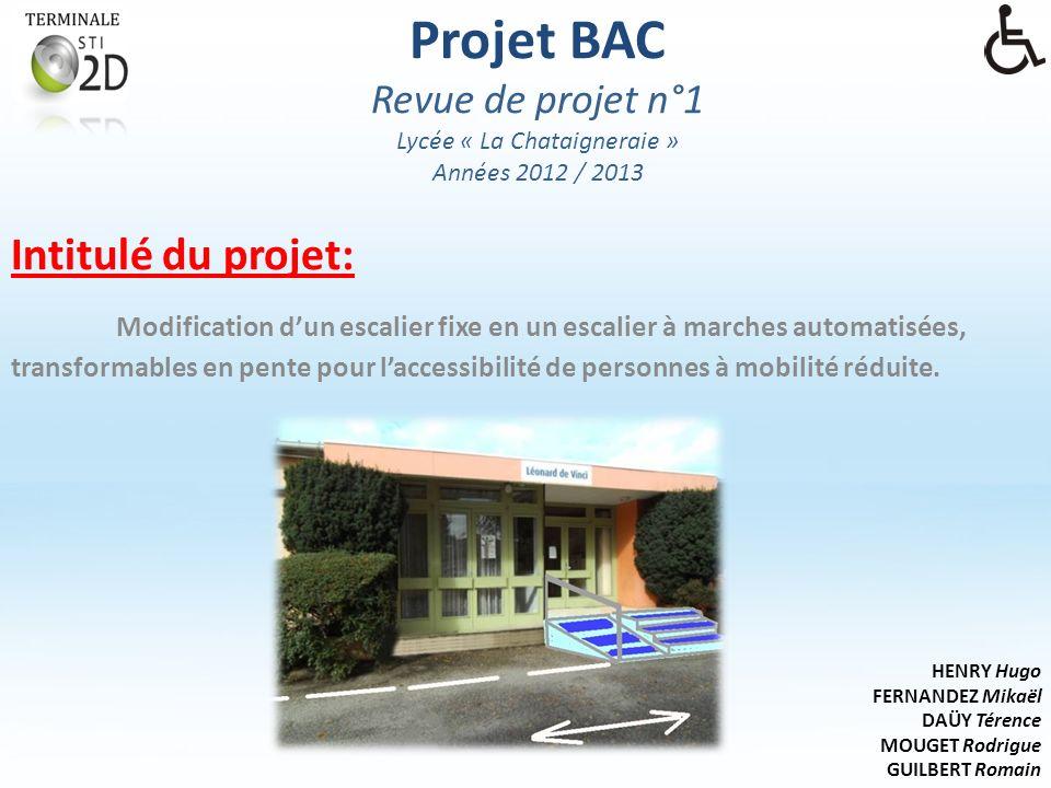 Projet BAC Revue de projet n°1 Lycée « La Chataigneraie » Années 2012 / 2013