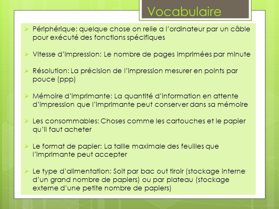 Vocabulaire Périphérique: quelque chose on relie a l'ordinateur par un câble pour exécuté des fonctions spécifiques.