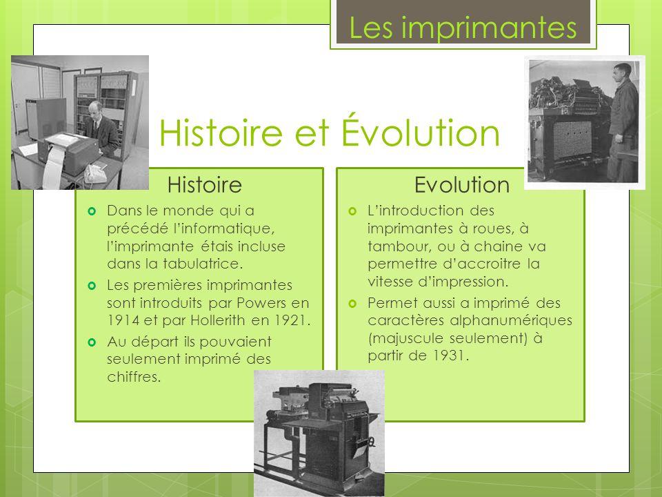 Histoire et Évolution Les imprimantes Histoire Evolution