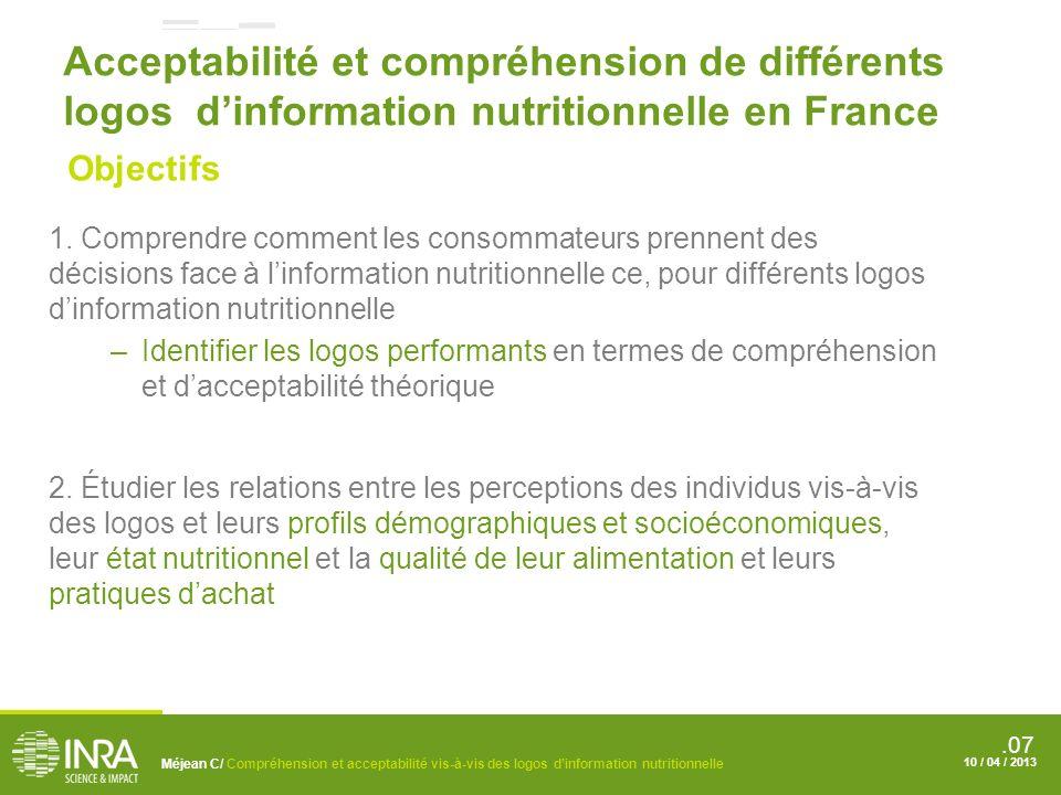 Acceptabilité et compréhension de différents logos d'information nutritionnelle en France
