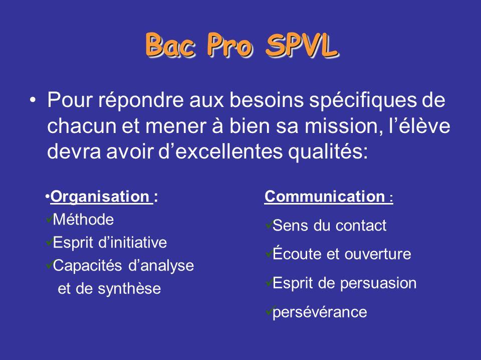 Bac Pro SPVL Pour répondre aux besoins spécifiques de chacun et mener à bien sa mission, l'élève devra avoir d'excellentes qualités: