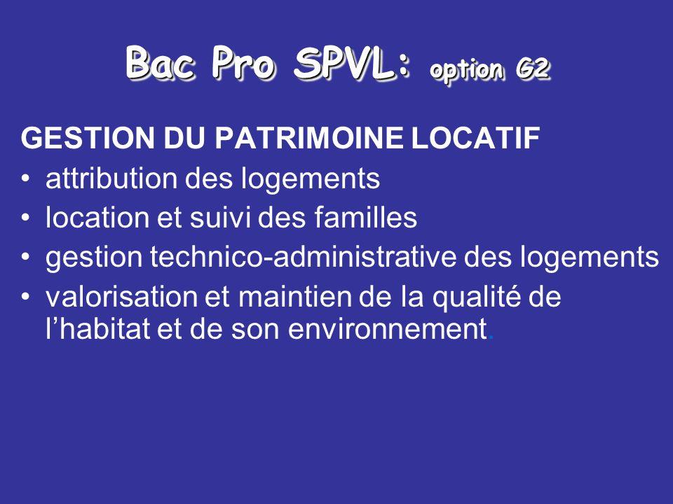 Bac Pro SPVL: option G2 GESTION DU PATRIMOINE LOCATIF
