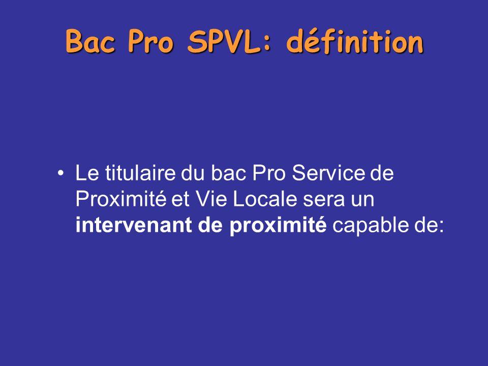 Bac Pro SPVL: définition
