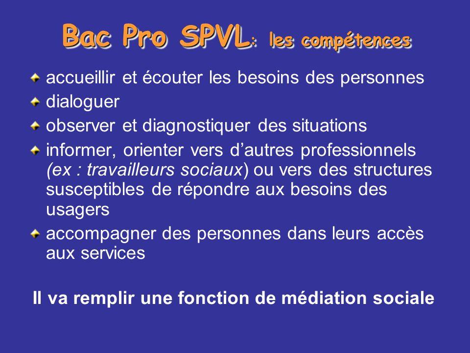 Bac Pro SPVL: les compétences