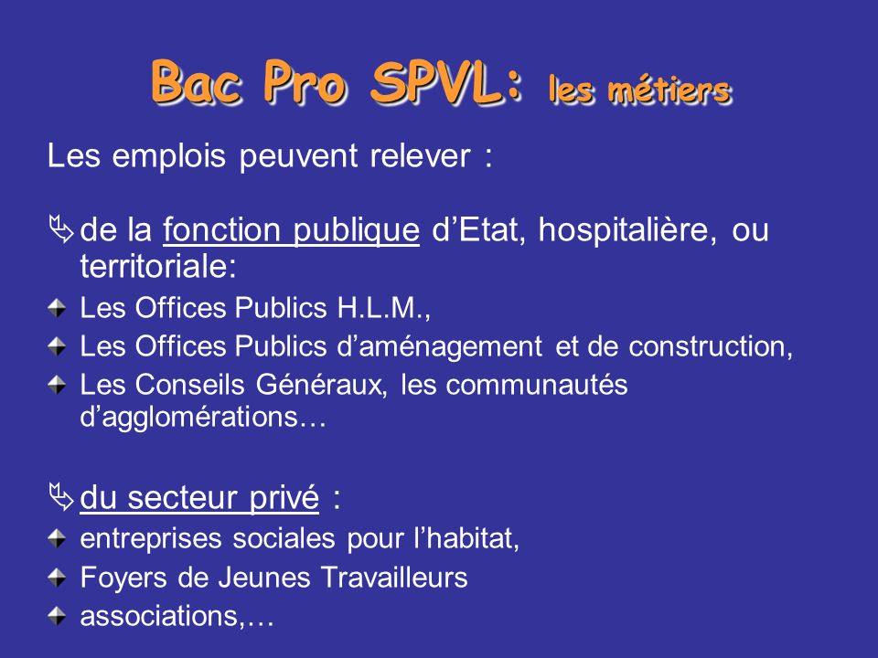 Bac Pro SPVL: les métiers