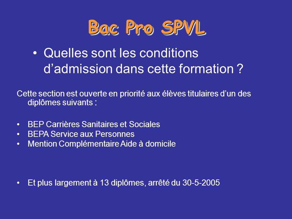 Bac Pro SPVL Quelles sont les conditions d'admission dans cette formation