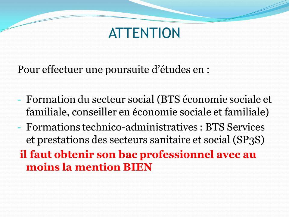 ATTENTION Pour effectuer une poursuite d'études en :